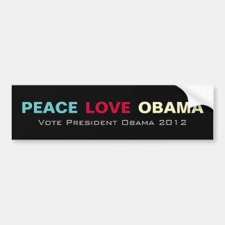 Peace Love OBAMA Campaign 2012 Bumper Sticker Car Bumper Sticker