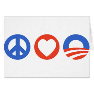 Peace Love Obama Greeting Card