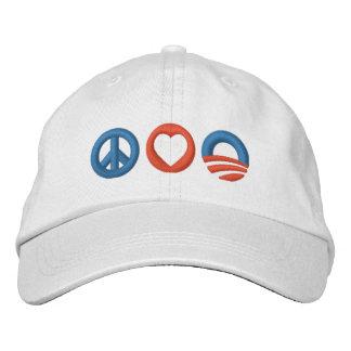 Peace Love Obama Embroidered Baseball Cap