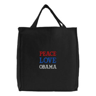 PEACE, LOVE, OBAMA EMBROIDERED TOTE BAG