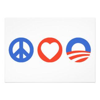 Peace Love Obama Personalized Invitations