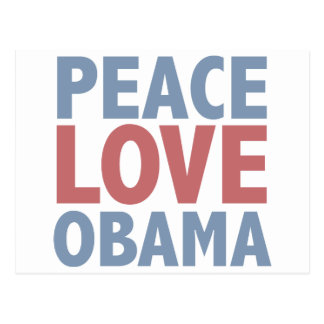 Peace Love  Obama Postcard