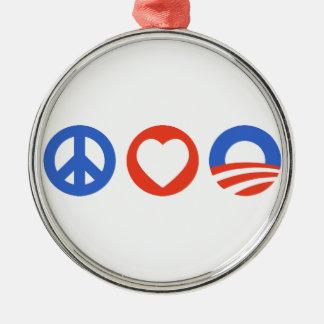 Peace Love Obama Silver-Colored Round Decoration