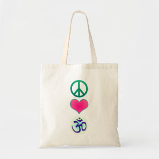 Peace, love, om tote bag