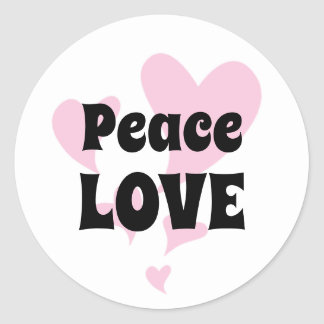 Peace Love on Floating Pink Hearts Classic Round Sticker