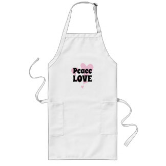 Peace Love on Floating Pink Hearts Long Apron