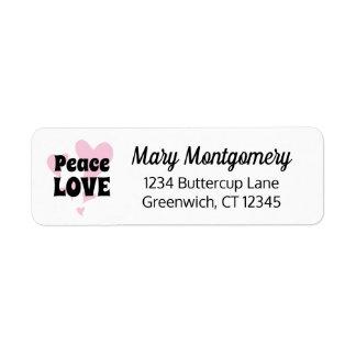 Peace Love on Floating Pink Hearts Return Address Label