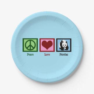 Peace Love Pandas Paper Plate