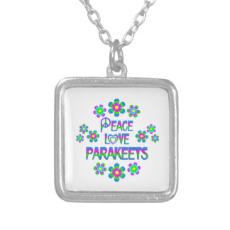 Peace Love Parakeets Silver Plated Necklace