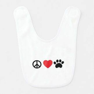 Peace Love Paw Bib