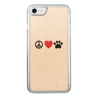 Peace, Love, Paw Carved iPhone 7 Case