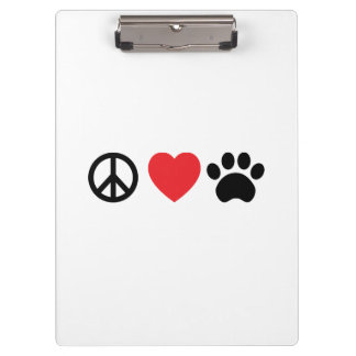 Peace, Love, Paw Clipboard