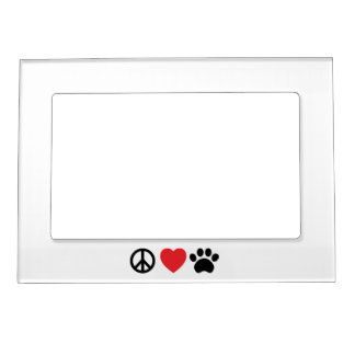Peace, Love, Paw Magnetic Photo Frame