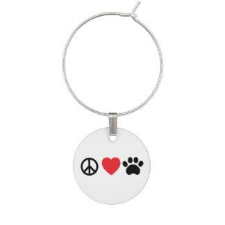 Peace Love Paw Wine Charm