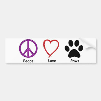 Peace, Love, Paws. It'a all a pet lover wants. Bumper Sticker