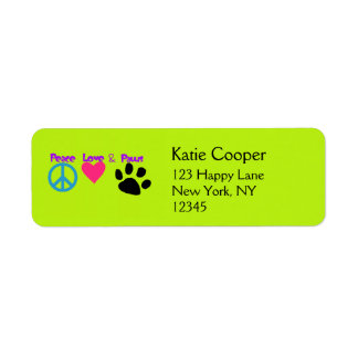 Peace Love & Paws Return Address Label