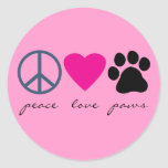 Peace Love Paws Round Sticker
