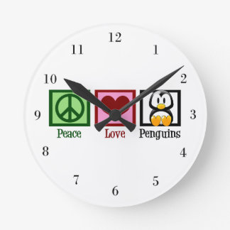 Peace Love Penguins Round Clock