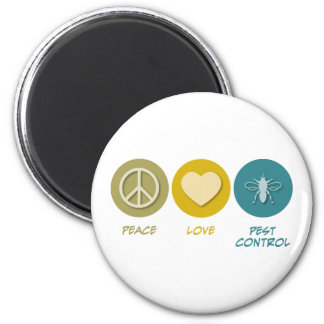 Peace Love Pest Control 6 Cm Round Magnet