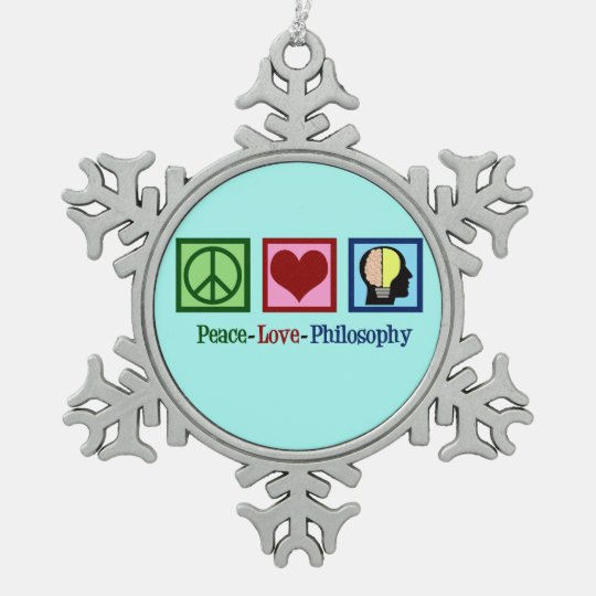 Peace Love Philosophy Snowflake Pewter Christmas Ornament