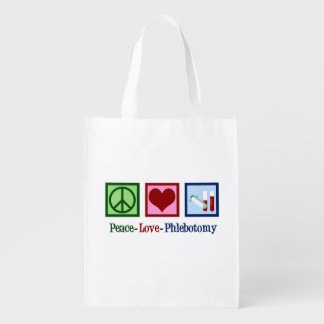 Peace Love Phlebotomy Reusable Grocery Bag