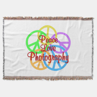 Peace Love Photography Throw Blanket