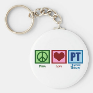 Peace Love Physical Therapist Basic Round Button Key Ring