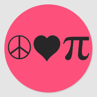 Peace Love Pi Classic Round Sticker