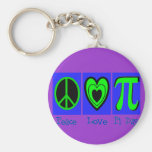 Peace Love Pi Day Keychains