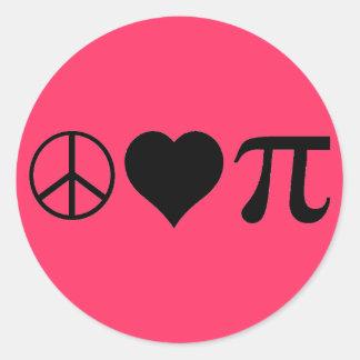 Peace Love Pi Round Sticker