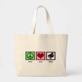 Peace Love Piano Large Tote Bag