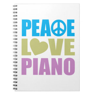 Peace Love Piano Spiral Notebook