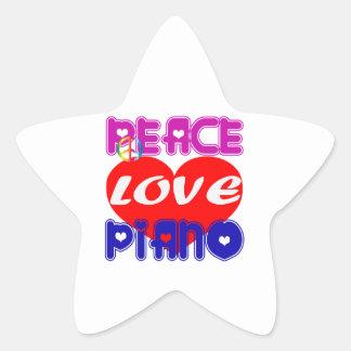Peace Love Piano Star Sticker
