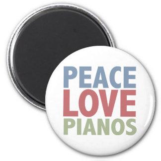 Peace Love Pianos 6 Cm Round Magnet