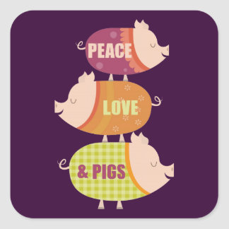 Peace Love Pig Stack Square Sticker