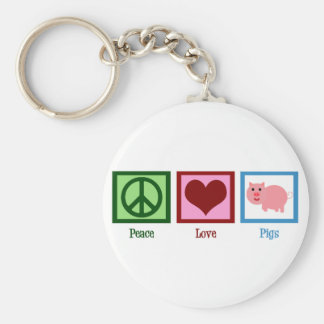 Peace Love Pigs Basic Round Button Key Ring