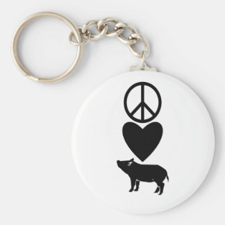 Peace Love & Pigs Keychain