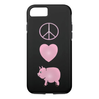 Peace, Love, Pigs, Pink Pig iPhone 7, Tough iPhone 7 Case