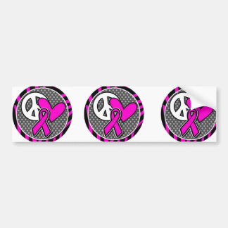 peace love pink awareness ribbon bumper stickers