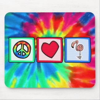 Peace, Love, Pink Flamingos Mousepads