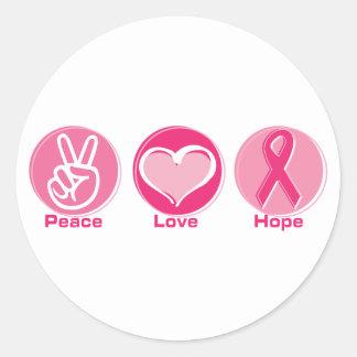 Peace Love Pink Hope Round Sticker