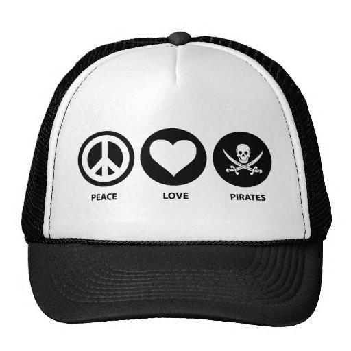 Peace Love Pirates Trucker Hat