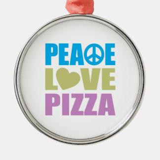 Peace Love Pizza Metal Ornament