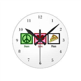 Peace Love Pizza Round Clock