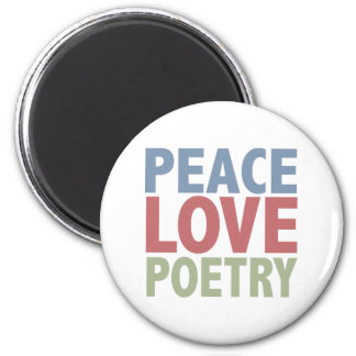 Peace Love Poetry 6 Cm Round Magnet