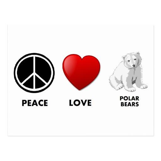 peace love polar bears Save the bears Post Card
