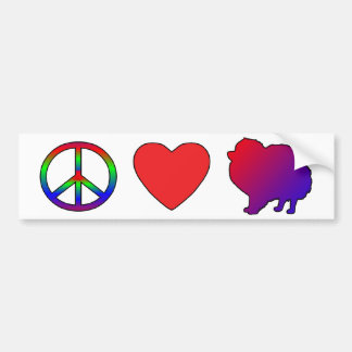 Peace Love Pomeranians Bumper Sticker