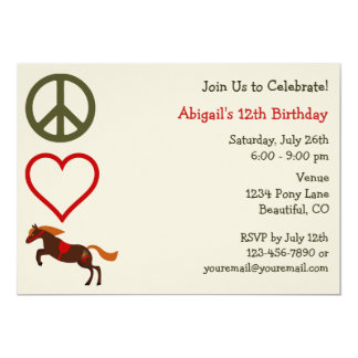 Peace Love Ponies Birthday Invitation for Girls