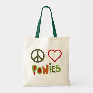 Peace Love Ponies Colorful Retro Horse Tote Bag