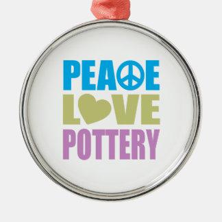 Peace Love Pottery Metal Ornament